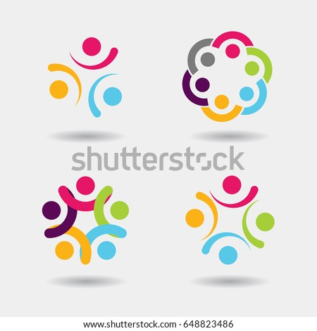 Vector community logo icons of people in circle - sign of unity, teamwork. Illustration of society, partnership & team, children playing, engagement & interaction, kids fun, employees & staff, games