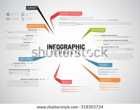 Vector Company Infographic Overview Design Template With Colorful Labels  Company Portfolio Template