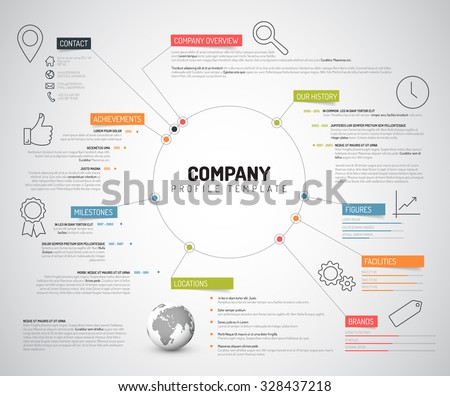 Modern company profile template download free vector art stock vector company infographic overview design template with colorful labels and icons friedricerecipe Image collections