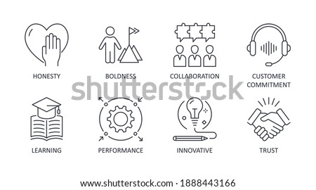 Vector company values icons. Editable stroke. Illustration on white background. Collaboration customer commitment innovative performance trust boldness honesty learning Stock foto ©