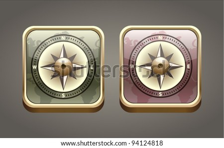 Vector compass icon in two colors