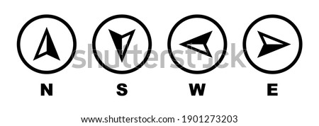 Vector compass icons of north, south, east and west direction. Map symbol. Arrow icon. Vector illustration.