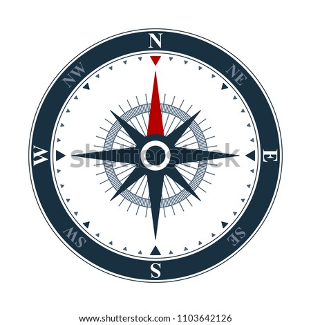 Vector compass rose on white background. Vector compass design