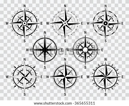 Vector compass set. Vector geo mark Wind Rose. Isolated vector Rose Wind. Rose Wind in lineal style. Image of Rose Wind for Columbus Day.  - Shutterstock ID 365655311