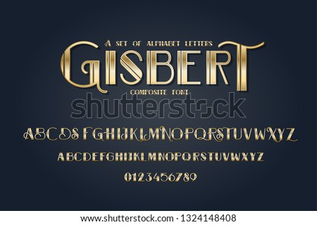 vector composite font. Art Deco alphabet set. lowercase and uppercase letters as well as numbering from 0-9. great for retro parties and vintage-style advertising