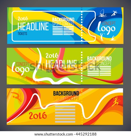 Vector composition of a wave of bands with different colors are intertwined including sport symbols.Concept brochure, web sites,page,leaflet,Design sport banners or ticket 2016 year with logo element. #445292188