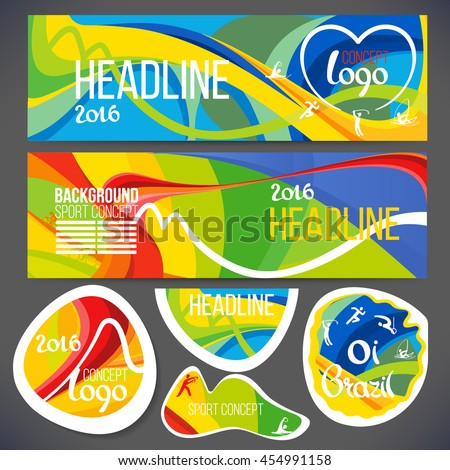 Vector composition of a wave of bands with different colors are intertwined including sport symbols.sport brochure, isolate stickers, web sites,page,leaflet,Design banners or ticket headline 2016 year