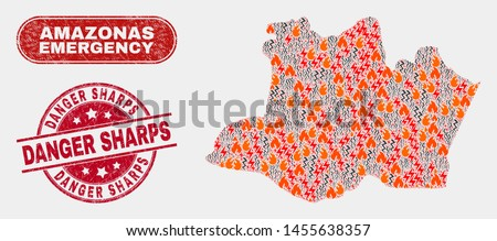 Vector composition of disaster Amazonas State map and red rounded scratched Danger Sharps stamp. Emergency Amazonas State map mosaic of burning, power hazard items.