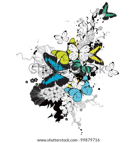 Vector composition with butterflies and flowers
