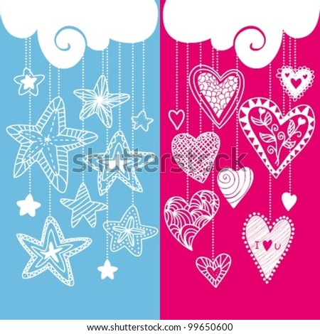Vector composition with hearts and stars