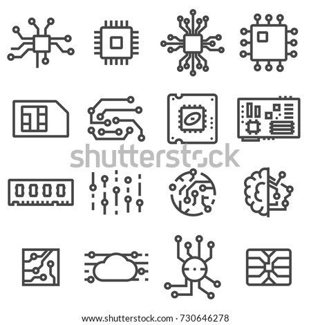 Vector Computer Chips icons set. Electronics symbols