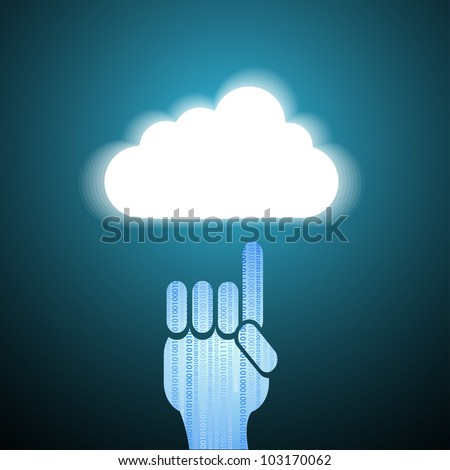 Vector computer cloud with hand on blue. Eps10
