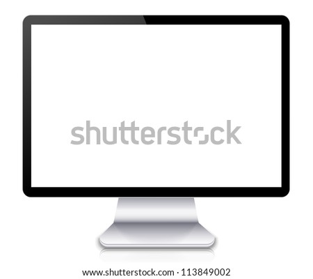 Vector computer display or tv isolated on white background. Eps10