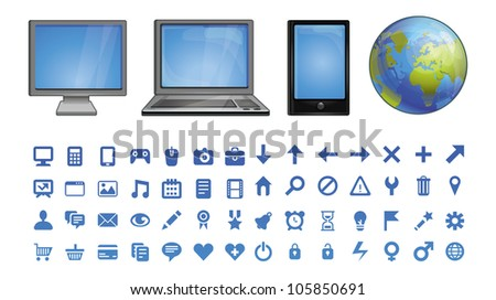 vector computer icons  - set of pictograms for software