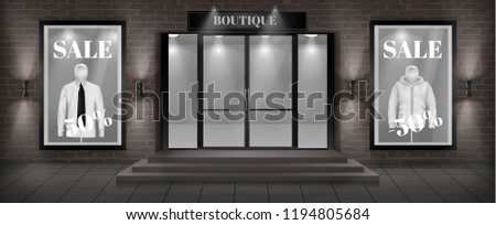 Vector concept background, boutique shop facade with signboard. Storefront with brick wall, entrance with steps, large glass door and empty illuminated showcases with discount clothing collection