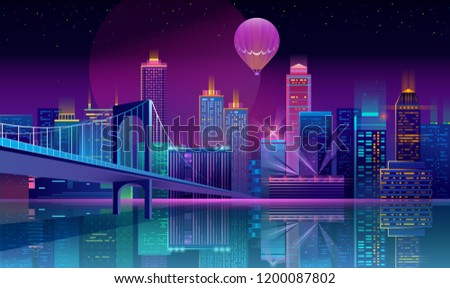 Vector concept background with night city illuminated with neon glowing lights. Futuristic cityscape in blue and violet colors, panorama with modern buildings, high skyscrapers, urban skyline