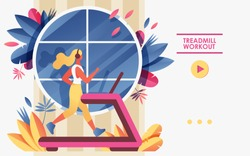 Vector concept banner template or landing page for gym or treadmill advertising web site. Young woman running in front of window and greenery, drawn with soft gradients and bright colors