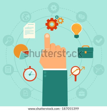Vector concept - business administration  management - icons and infographic design elements in flat trendy style