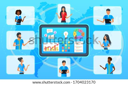 Vector concept, business team in video conference during online meeting, senior business woman in video call talking with diverse colleagues. Videoconferencing. Virtual classroom. Workshop training.