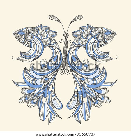 vector concept butterfly with wings - fishes, fishes can be used separately