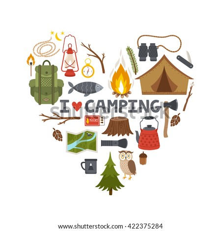 "Vector concept camping background. Heart made from camping equipment and text ""I love camping"""