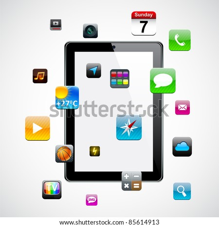 Vector Concept communicator with app icons. - stock vector