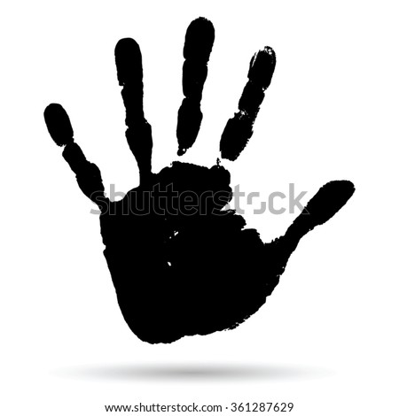 Vector concept conceptual cute black paint human hand or handprint of child isolated on white background for art, childhood, fun, happy, infant, symbol, kid, identity, education, school, little young