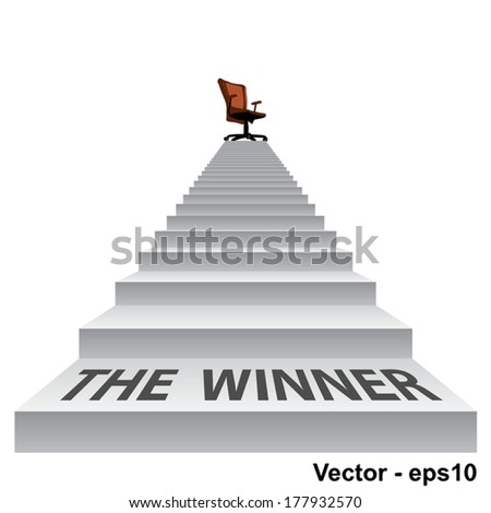 Vector concept conceptual 3d stair climbing to a leader, chief or promotion chair on top isolated white background, metaphor to career, business, success, achievement, winner, goal, step or victory