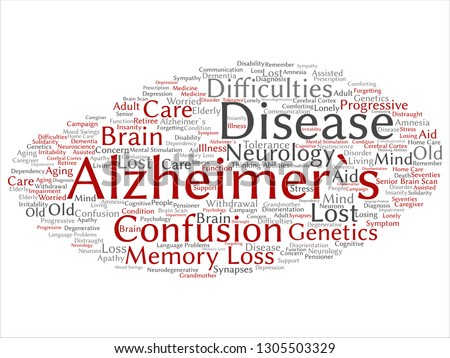Vector concept conceptual old Alzheimer`s disease symptom abstract word cloud isolated on background. Collage of care, loss, caregiving, aging resistance, neurology, language, motor or resistance text