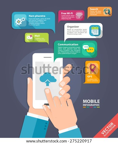 Vector concept for smartphone device. Infographics mobile phone data. Flat style