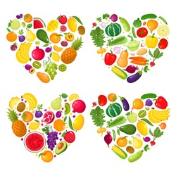 Vector concept heart - eat colors for your health, colorful fruit and vegetable in hearts isolated on white. Vector illustration of fresh organic meal