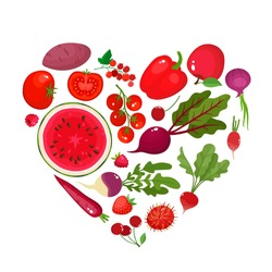 Vector concept heart - eat colors for your health - red fruit and vegetables in round isolated on white. Vector illustration of fresh organic food used for magazine, poster, menu cover, web pages.