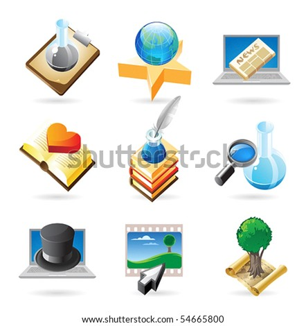 Vector concept icons for science and education. Illustrations for document, article or website.
