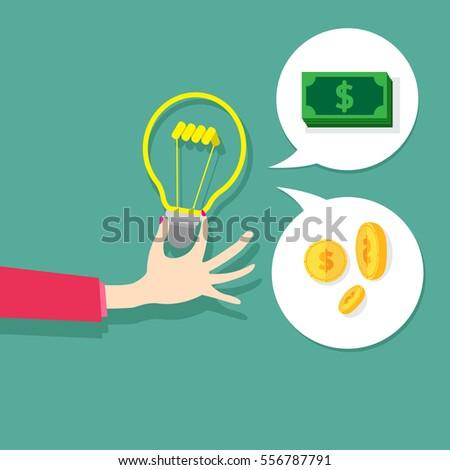 Vector concept  idea sign. Lightbulb, change money