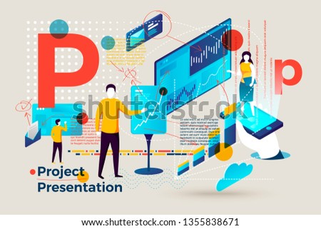 Vector concept illustration -  alphabet letter P and man presenting project. Modern bright banner template with charts and place for your text. #1355838671