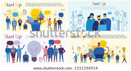 Vector concept illustration backgrounds of Start Up and Big Idea in flat style