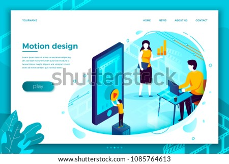 Vector concept illustration -  motion design studio working process, creating and uploading video online. Modern bright banner, site template with place for your text.