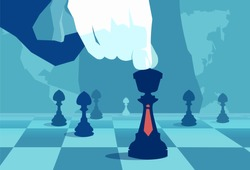 Vector concept illustration of crop hand moving chess piece on board of world politics.