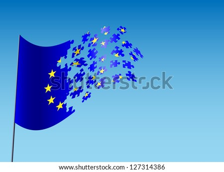 vector concept illustration of scattered eu flag, eps10 vector, gradient mesh and transparency used, raster version available