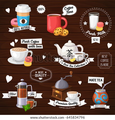 Vector concept illustration of tea and coffee labels. Colorful template for cooking and restaurant menu.