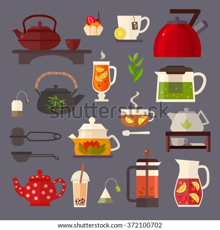 Vector concept illustration of tea party. Tea ceremony with icons isolated on white background.Set of  tea accessories: cup, teapot, tea bag, tea tools, glass in flat style. Tea time vector symbols.