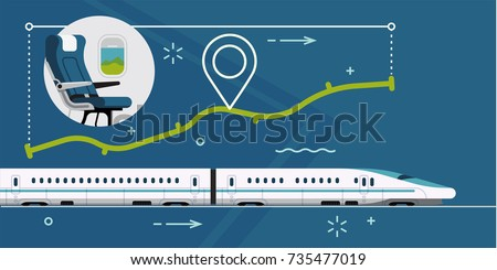 Vector concept illustration on bullet high speed train with abstract route with distance, location pin and passenger seat. Travel by train horizontal visual