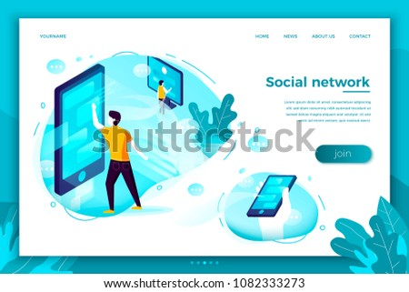Vector concept illustration -  social network connections, people chatting,. Modern bright banner, site template with place for your text.