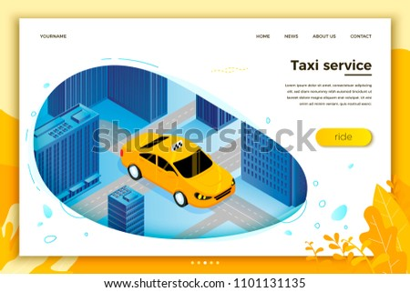 Vector concept illustration -  taxi cab riding for client. Modern bright banner, site template with place for your text.