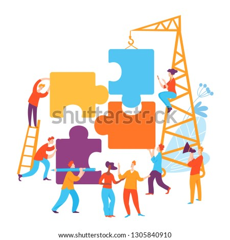 Vector concept illustration with cartoon business people making solution
