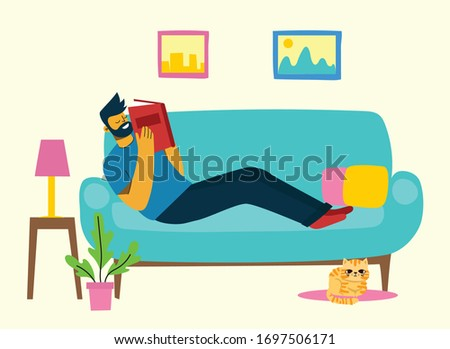 Vector concept illustrations of World Book Day, Reading the books and Book festival in the flat style. People stay at home and read a book