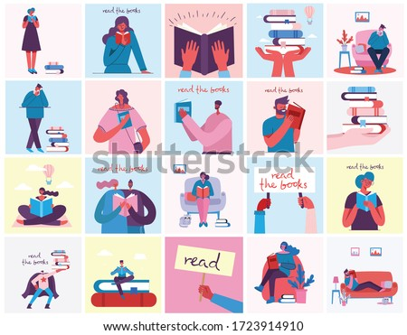 Vector concept illustrations of World Book Day, Reading the books and Book festival in the flat style. People sit, stand and walk and read a book