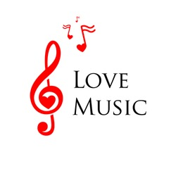 Vector concept isolated musical logo. Red treble cleff illustration. Melody icon. Sound image.