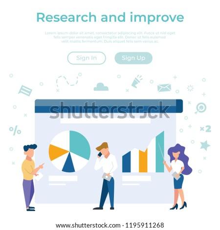 Vector concept of business management statistics, data analysis. Creative flat design for web banner, presentation.