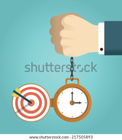 Vector concept of deadline and successfully completed work. Hand holding watch. Time management, start up and result - vector illustration